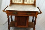 19th century washstand. Marble top with tile splashback