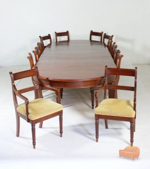 Regency Style Large Mahogany Dining Table 14 X Chairs 2 Carver