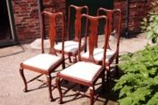 Four early 20th Century Queen Anne style Mahogany Chairs