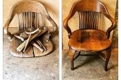 A circa 1900 oak office chair. Reglued, cleaned and polished.