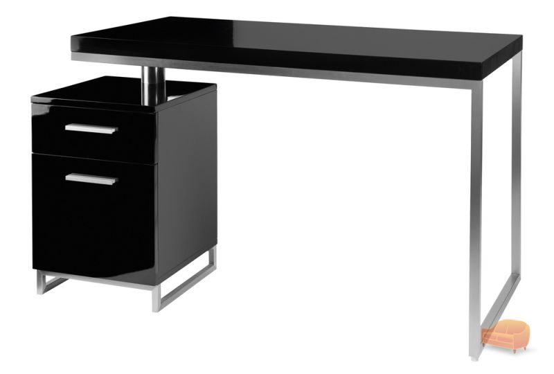 Reversible desk and drawers black
