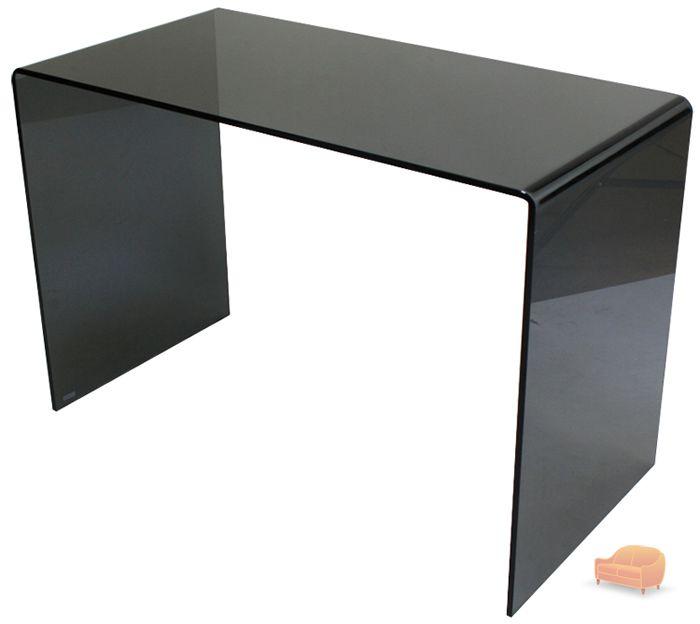 7dc2de82f24e Geo-Glass Small Smoked Black Glass Desk