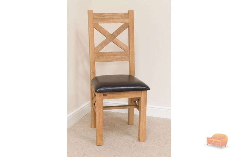 Oak Dining Chair Brown Leather