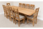 Provence 1.8m 2.3m 2.8m Cross Leg Table Set 10 Provence Linen Chairs Sq End
