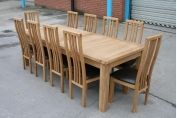 10 Seat Oak Dining Set - Tallinn 2.4m - 2.9m Large Oak Dining Table & 10 Tutbury Brown Leather Chairs