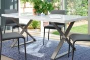 Crossed leg gloss dining table
