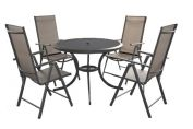 Cayman 102cm Dia. 4 Seat Dining Set With Recliner Chair - Cappuccino - & 2.4m Brown Parasol