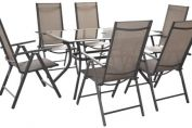 Cayman 150 x 90cm 6 Seat Dining Set With Recliner Chair - Cappuccino - & 2.75m Brown Parasol