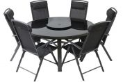 Valencia 6 Seat Dining Set (150cm Round 3 Legged Table & 6 Chairs) & 3.0m Burgundy Parasol