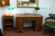 "Home Office sets > 4ft x 2ft desk in yew and 18"" open bookcase, Captains chair"