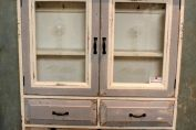 Wooden French Glass Wall Cabinet Vintage Storage Unit Hooks Shelves Drawers