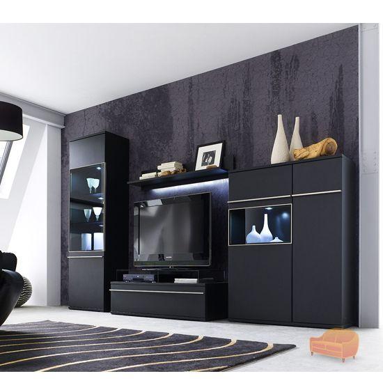 black living room collection in matt black room setting set