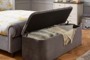 Ottomans > Ellis Dark Grey Velvet Finish Storage Chest