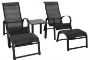 Cayman 5 pc Conversation Set (2 Chairs, 2 Footstools & Coffee Table) - Americano