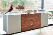 Treble sideboard light grey and walnut