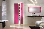 Pink bathroom sliding doors