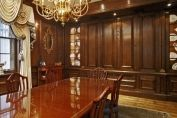 Oak panelling to hide conference room white board
