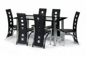 Brescia Chrome & Black Gloss Finish Dining Set