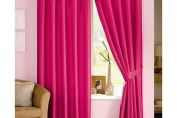 Java Faux Silk Lined Pencil Pleat Curtain, Pair , 167cm x 137cm, Cerise