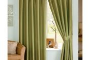 Java Faux Silk Lined Pencil Pleat Curtain, Pair , 167cm x 137cm, Moss